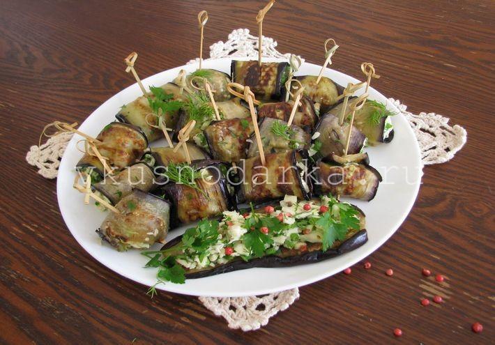 Рулетики из баклажанов с плавленным сыром, чесноком и зеленью