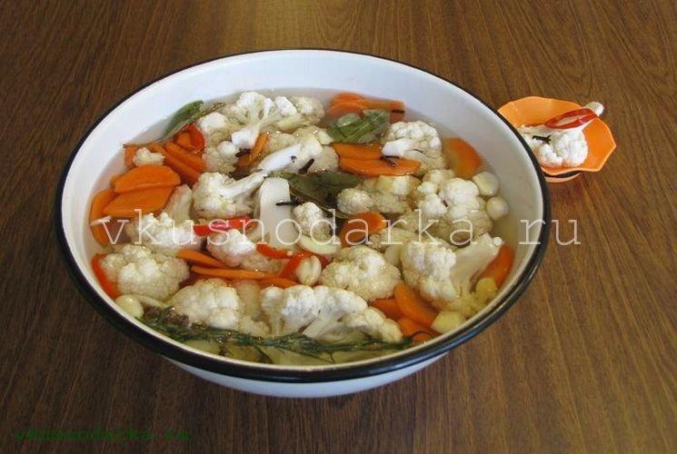 Приготовление маринада для цветной капусты