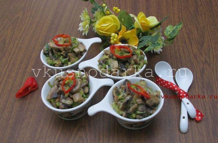 Жареные грибы в сметане