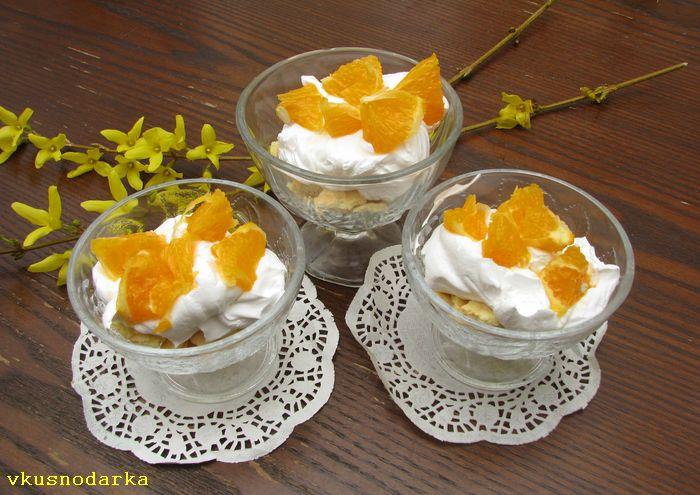 Добавляем лимонный сок и выкладываем кусочки апельсин