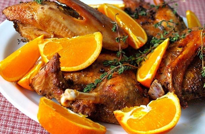 Утка в духовке с апельсинами