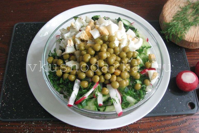 Добавить зеленый горошек для салата из редиски с горошком