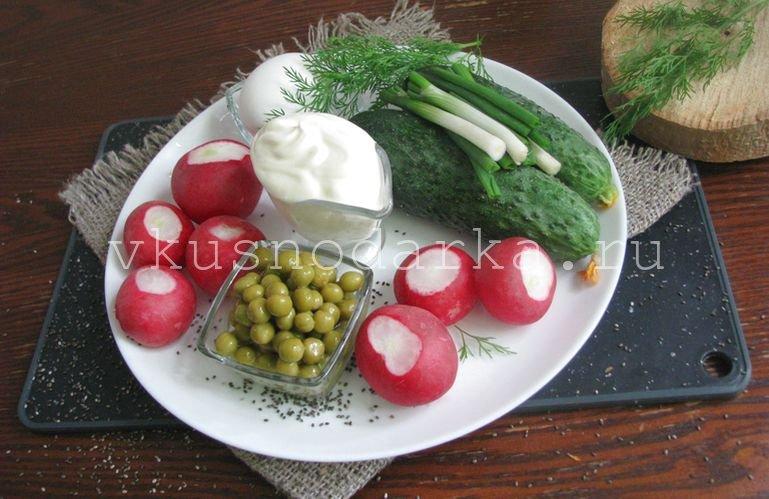 Подготовить ингредиенты для салата из редиски с горошком