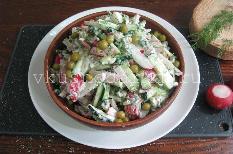 Салат из редиски с горошком перемешать.