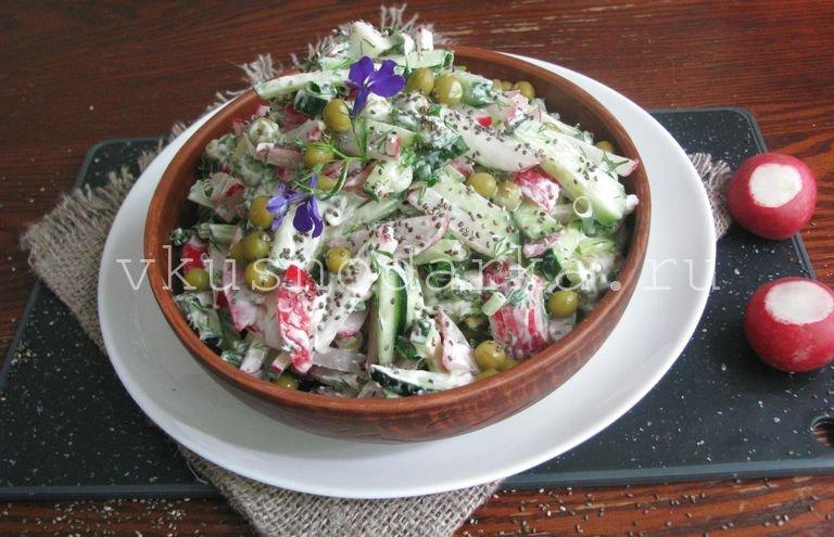 Салат из редиски с горошком, яйцом и огурцом - рецепт с пошаговым фото