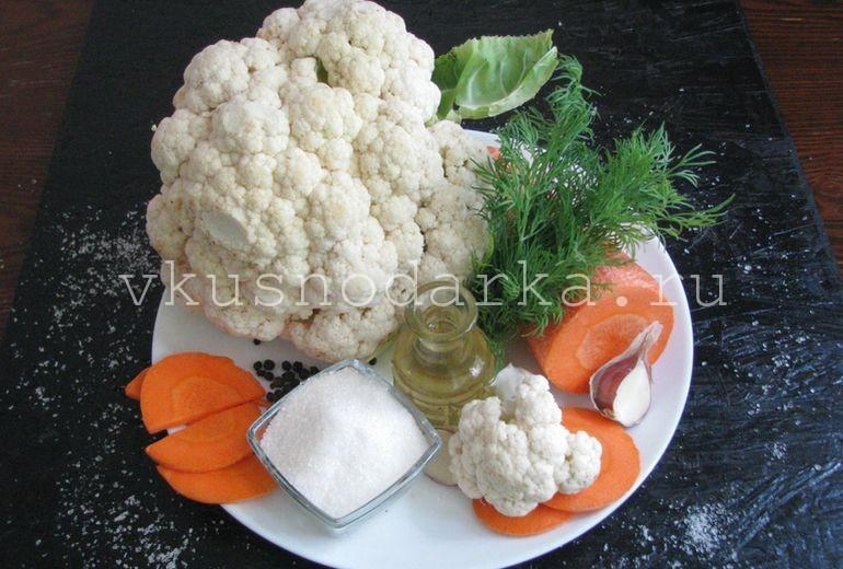 Компоненты для маринованной цветной капусты